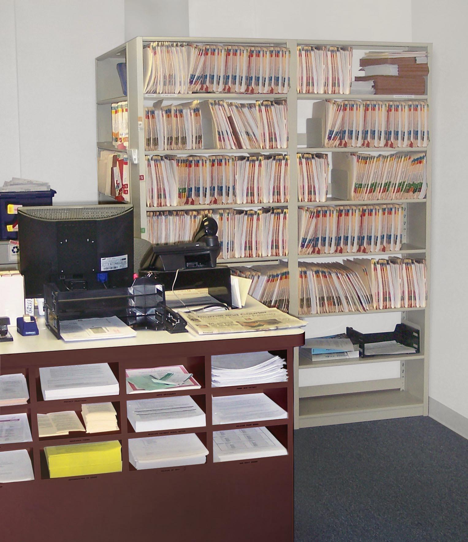 Customer files on Aurora Steel Shelving -- everything near at hand for efficiency.