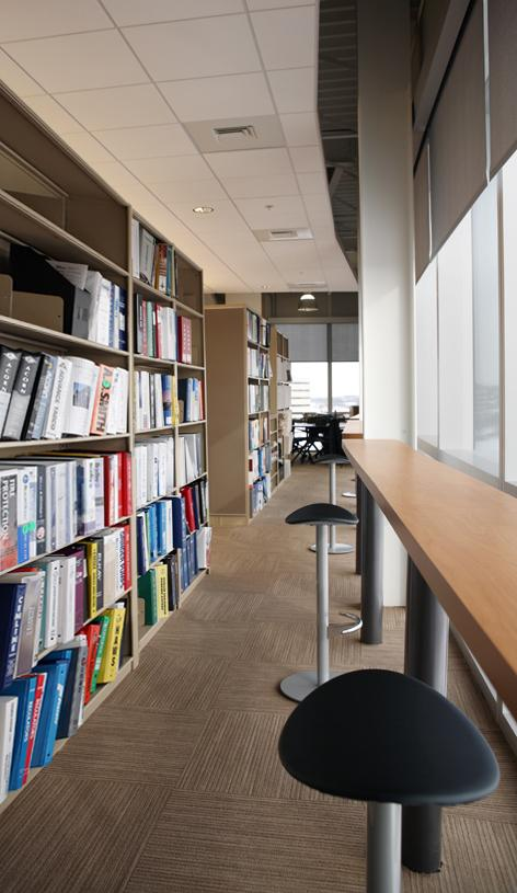 Interior Design office uses Aurora Shelving to store vendor catalogs.