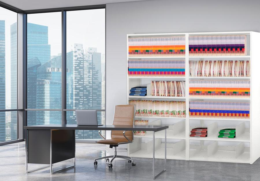 Urban home office stays organized with color coded end tab file on Aurora Storage Shelving.