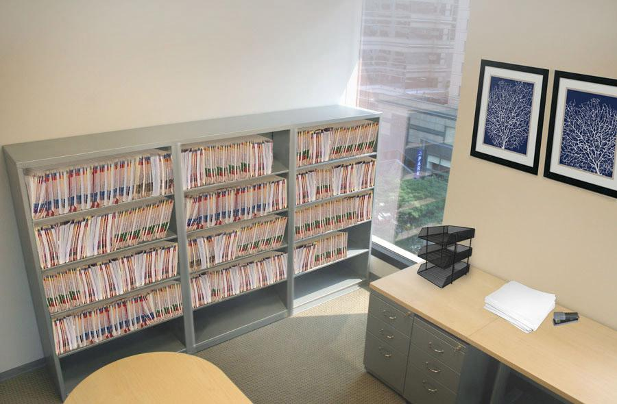 Partner Office in Law Firm contains working files on Legal Size Aurora Filing Shelving.