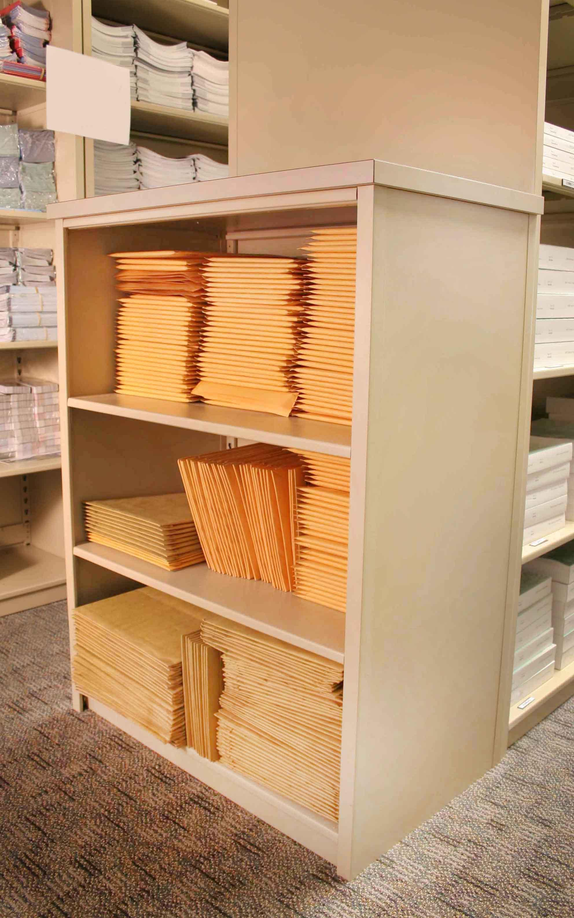 Sales office uses Aurora Storage Shelving for lead and literature fulfillment.