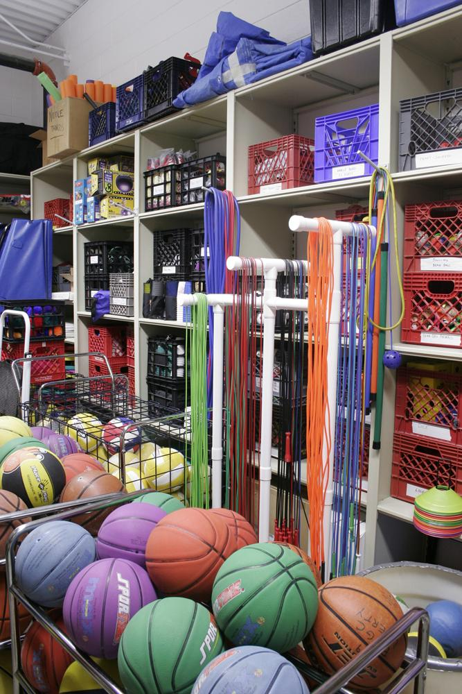 Busy Park District loves storing K-12 athletic gear on Aurora Quik-Lok Steel Shelving.